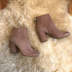 Blush pink ankle zip booties